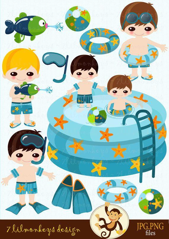 Pool Party - Lil Boys - Digital Clip Art Set - pool, beach ball, cute lil boys, rubber ring, water gun, star fish, diving fins - CA19