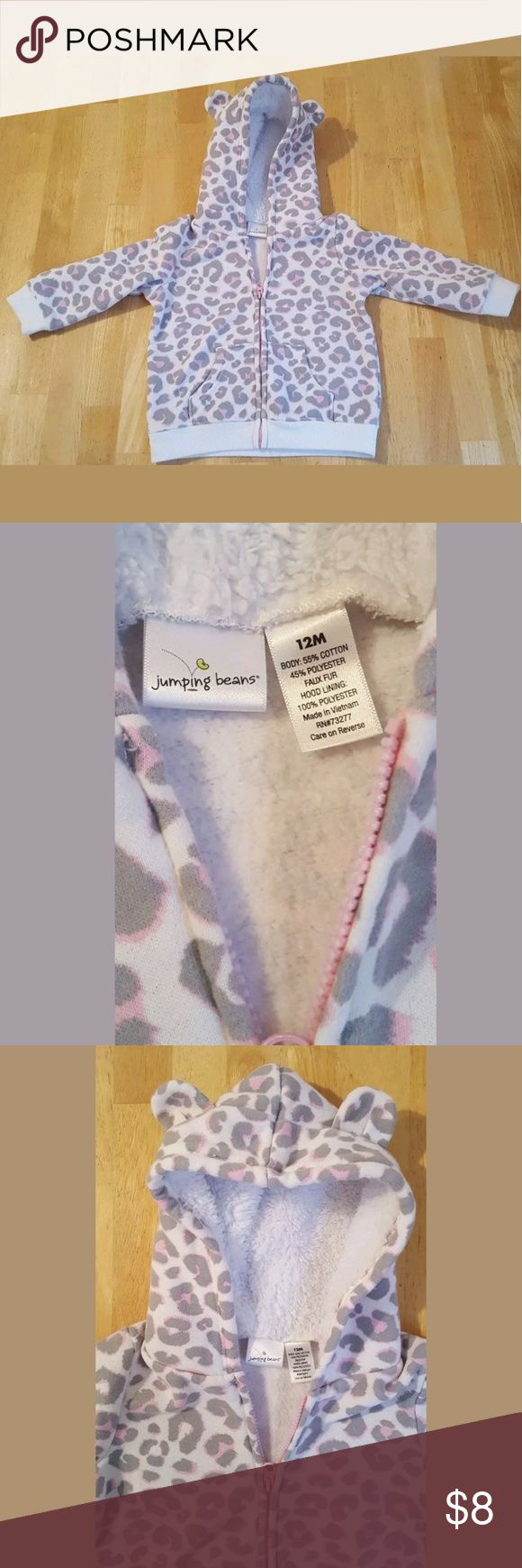 Girls 12 Month Hoodie Animal Print Listed is a girls 12 month zip up hoodie by Jumping Beans.  Hoodie features a faux fur lined hood with little ears on the top.  Hoodie is in great condition. No stains, tears or holes. Jumping Beans Shirts & Tops Sweatshirts & Hoodies