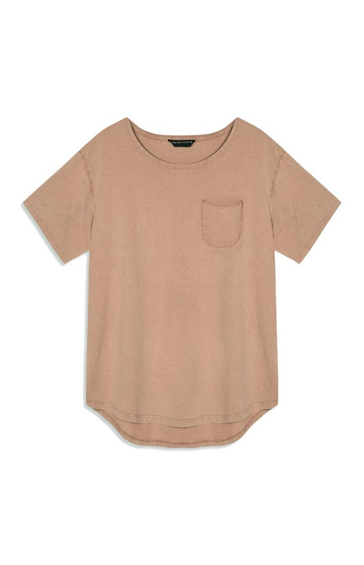 Primark - Brown Jersey Scoop Hem T-Shirt