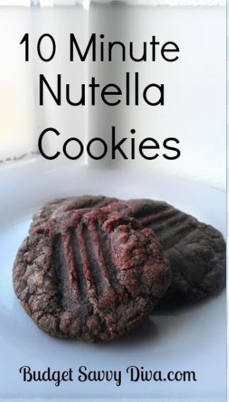 10 Minute Nutella Cookies Recipe - delicious!  I would recommend warming the Nutella in the microwave first, though.  It will make it easier to mix into the flour/sugar/egg mixture.