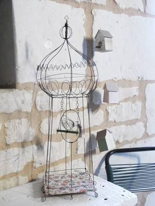 Masha - wire bird cage with vintage fabric by claire Rougerie for {De Beaux Souvenirs}