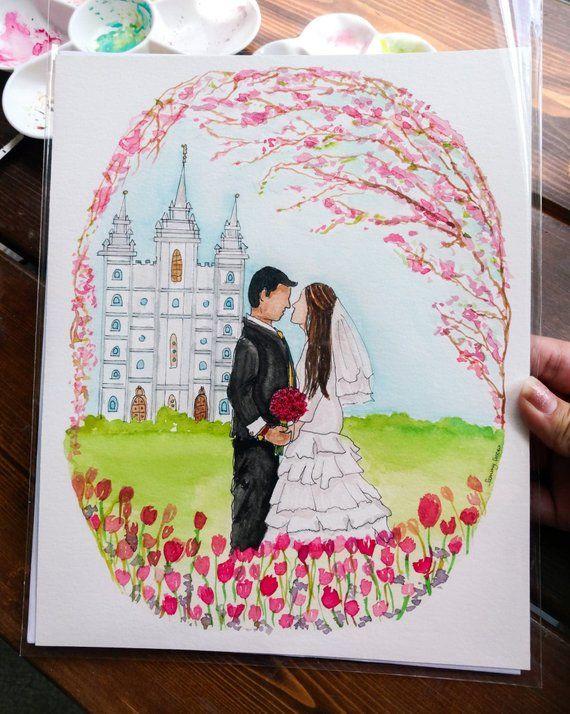 Custom Watercolor Couple S Portrait Wedding Gift Salt Lake City
