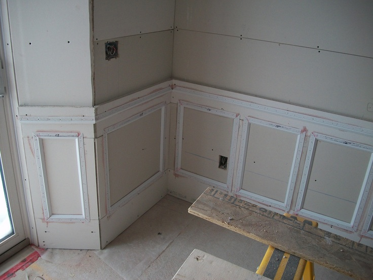 Wainscoting With Drywall Scraps And Trim Tex Corner Bead