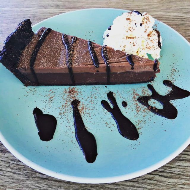 Wicked #chocolate #tart from Seagrass Long Point, Sandy Bay ~ article and photo for think-tasmania.com ~ #Hobart #Tasmania #foodie #ediTAS #Seagrass #Waterfront #Dining #Restaurant #Cafe