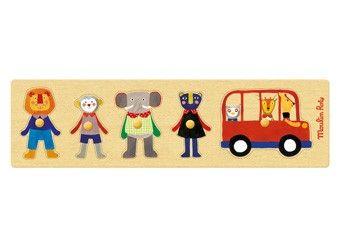 geweldige popipop puzzel 'op de bus' Moulin Roty | kinderen-shop Kleine Zebra