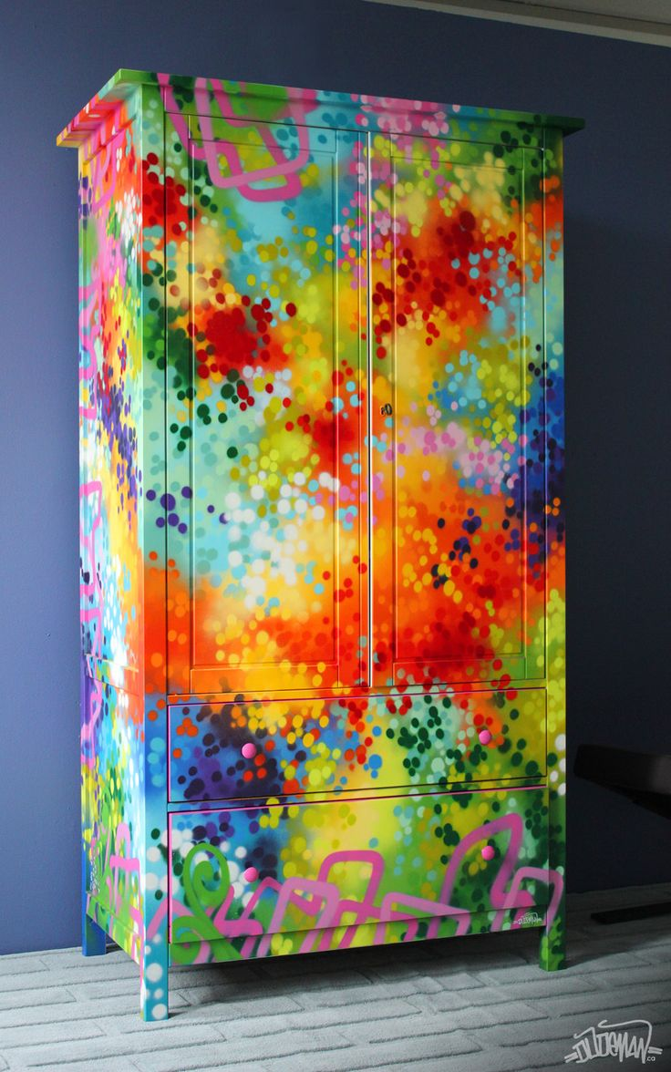 Armoire paint job commissioned for a Chatelaine Magazine photoshoot, published in the March 2012 issue.  Spray paint with a touch of paint marker.