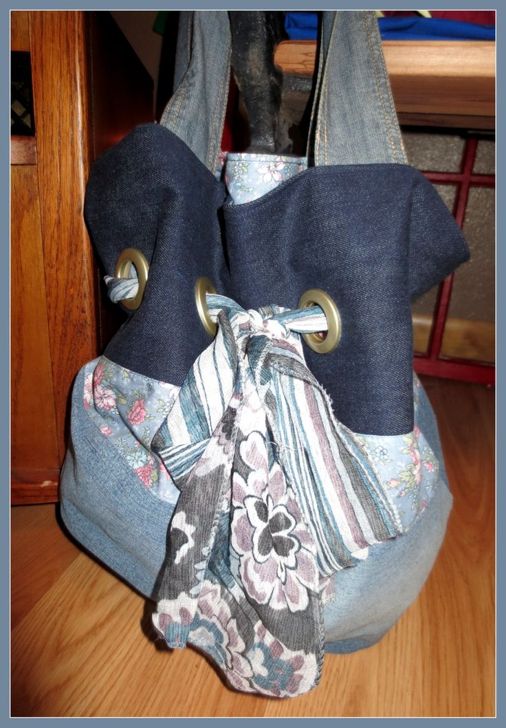 Same large denim bag with scarf tie instead of rope tie!