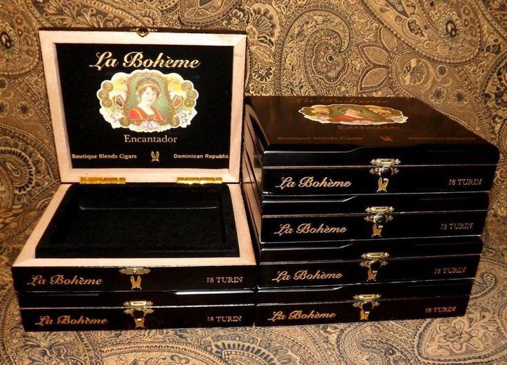 6 La Boheme Encantador Black Wooden Cigar Boxes Crafts Jewelry Box Storage