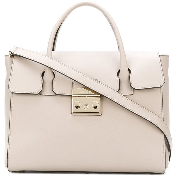 Furla Metropolis tote ($484) ❤ liked on Polyvore featuring bags, handbags, tote bags, grey, gray leather tote, gray leather handbags, grey leather tote bag, leather tote purse and grey leather handbags