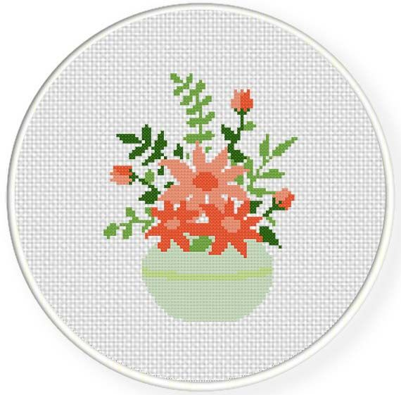 Pink Flower Bouquet Cross Stitch Pattern