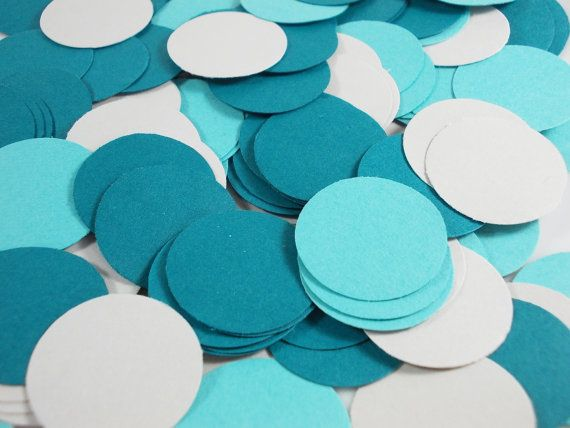 "Teal Blues & Light Grey Die Cuts 1"" Circle 200 Embellishments Party Wedding Confetti"