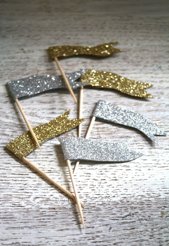 New Year's Engagement Party! Navy, Blue, Silver, White and Black. glitter flags
