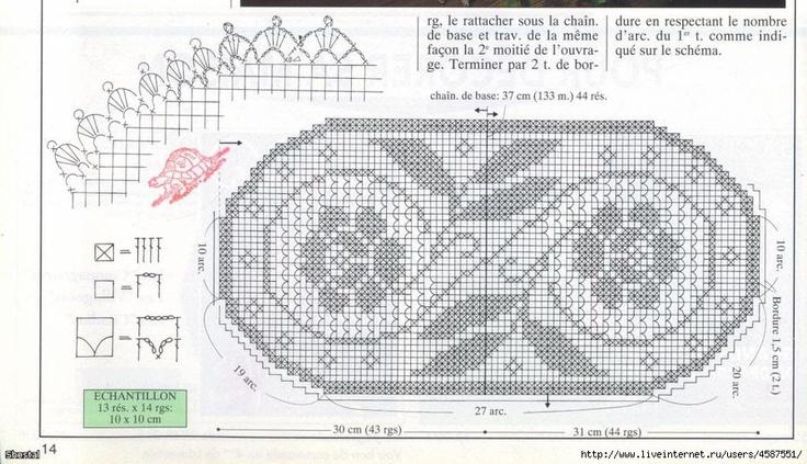 Szydełkomania: Serweta owalna z różą: Filet Charts, Crochet Carpetas, Sliding Rules, Crochetfilet, Filet Xxx,  Slipstick, Filet Crochet, Crochet Doilies, Crochet Filet