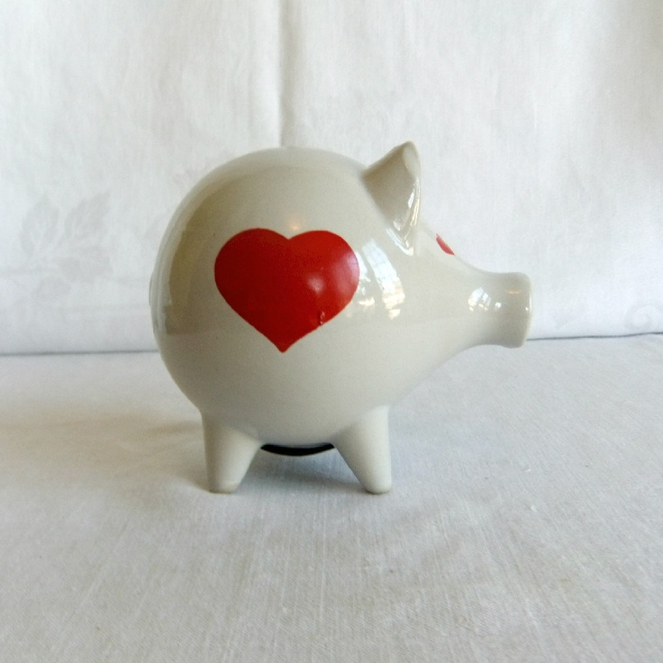 Piggy Bank with Red Hearts - Danish Waechtersbach German Scandinavian Modern Style. $32.00, via Etsy.