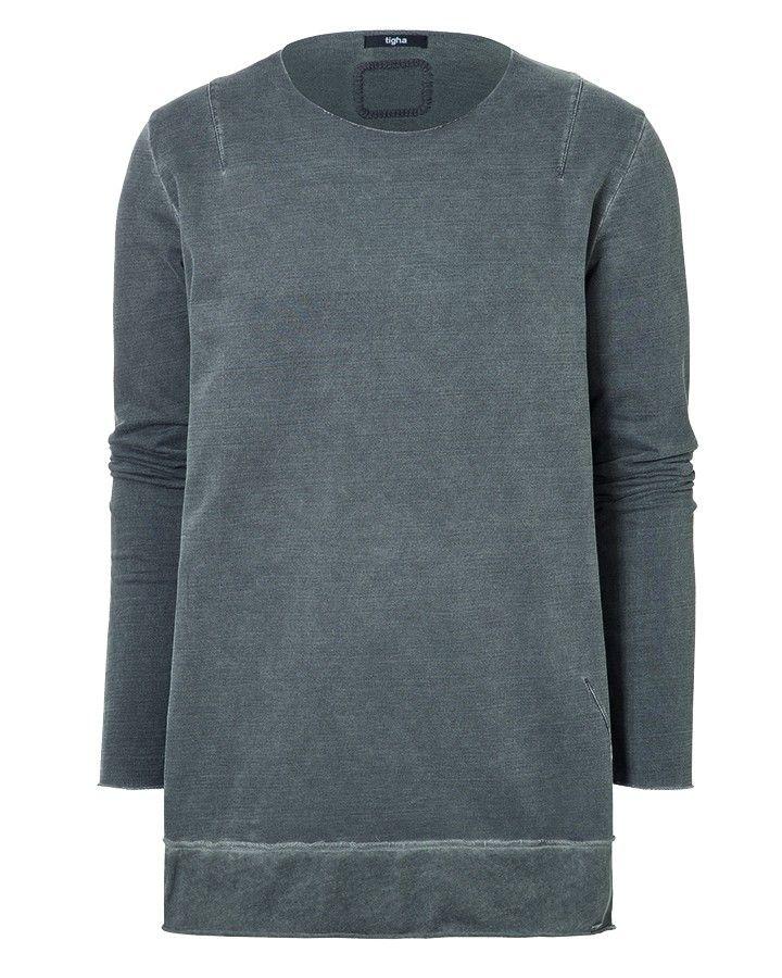 Tigha JEFF Sweater  Grau  Normale Passform Gradliniger Schnitt Reine, glatte Baumwolle Rundhals Sichtbare Ziernähte Offene Saumkanten