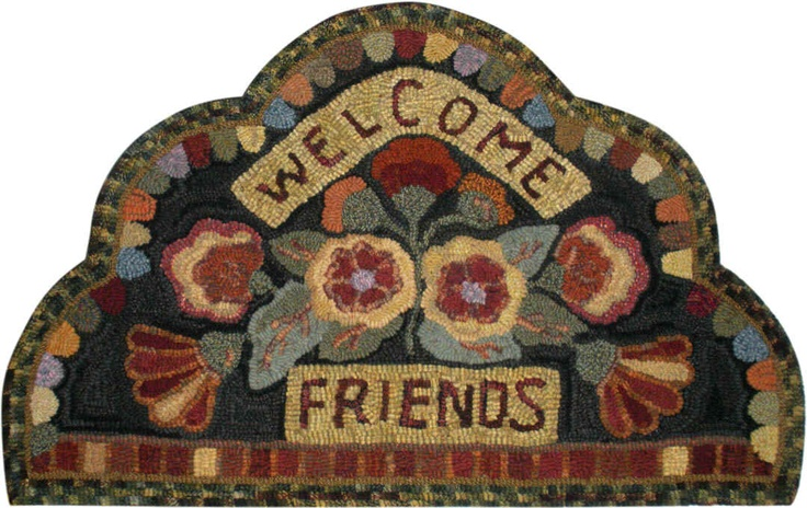 Bonnie Smith of Frostburg, Maryland, hooked Welcome Friends Antique, 24 x 38.