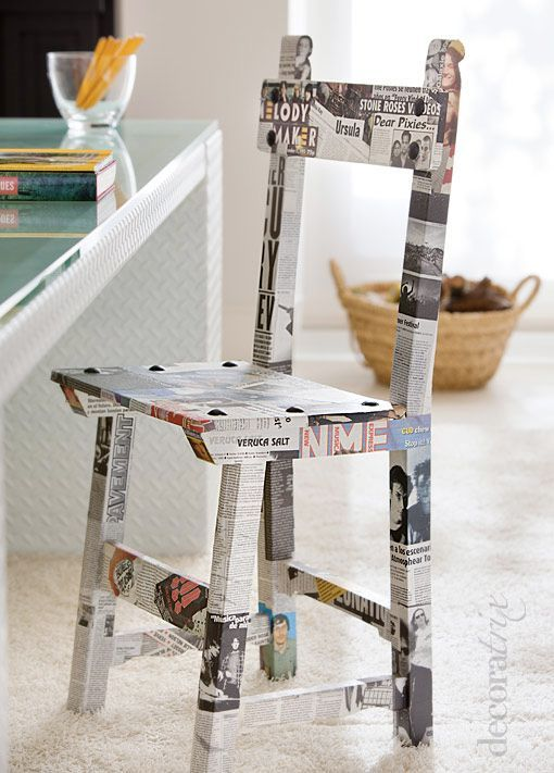 Con una vieja silla y recortes de revistas restauró una vieja silla de una…