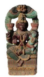 Ancien Panneau bois sculpté statue hindoue Shiva 122 cm-48 Nepal-Inde