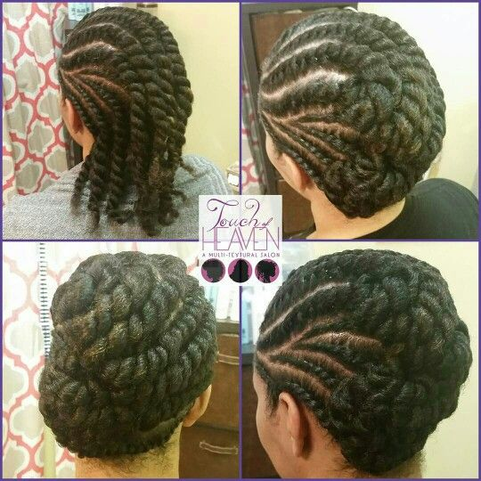 Flat twist updo on natural hair ❤ www.touchofheavensalon.com