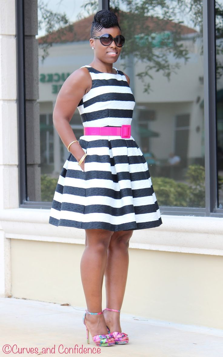 Curves and Confidence | Striped Skater Dress | @justfabonline | #naturalhair | #curvy | #curvyfashion |