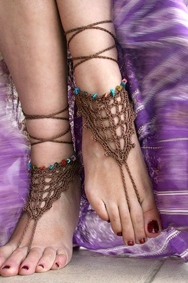 Bohemian barefoot sandals, Gypsy shoes, Beach Sandals, Hippie shoes, Bohemian Foot Jewelry, Belly dance, Yoga, Anklet by MarryG on Etsy https://www.etsy.com/listing/156035376/bohemian-barefoot-sandals-gypsy-shoes