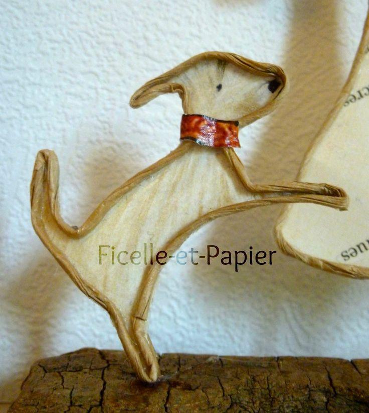 La dame au petit chien - Figurines en ficelle et papier