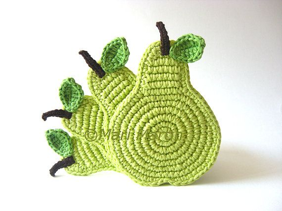 Crochet Coasters Green Light Pear . Beverage Drink by MariMartin, $24.00