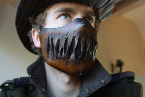 steampunk leather mask creepy edition 2 by steampunkleatherwork, €60.00