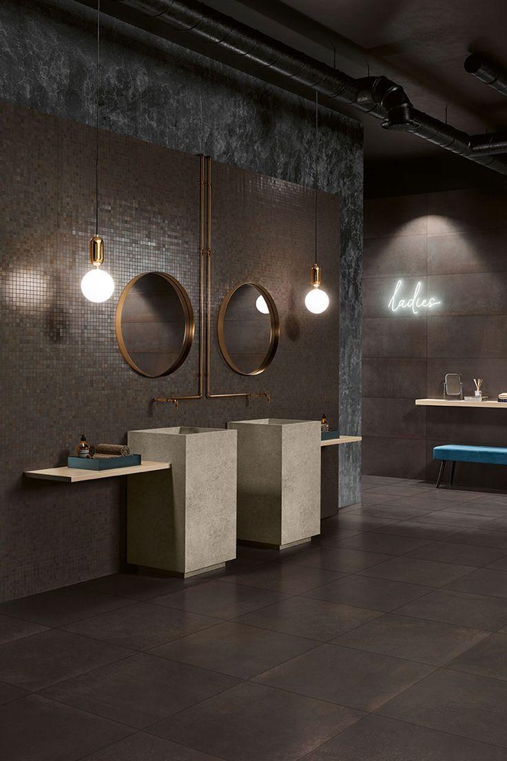 So sieht das #Trend #Badezimmer der kommenden Jahre aus! Dunkel offen groß und industriell. Entdecke die Serie #LoveTiles #Metallic in unserem Websho…