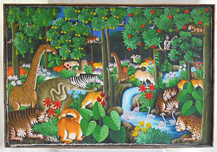 Jungle animal kingdom vintage haitian painting y jn pierre for Classic jungle house for small animals