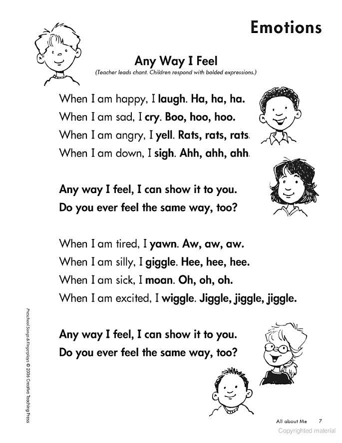 Feelings  Chant  Preschool Songs & Fingerplays: Building Language Experience Through Rhythm ... - Kim Cernek - Google Books