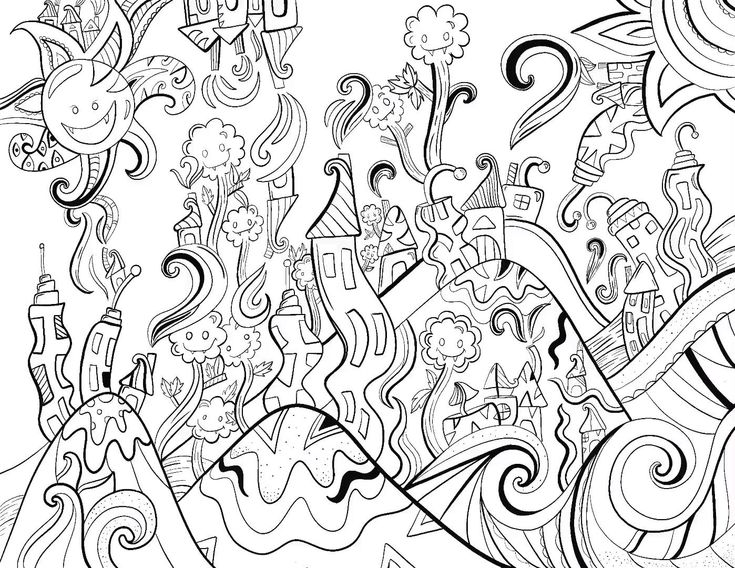Upside Down Town Coloring Sheet in the making! Using ...