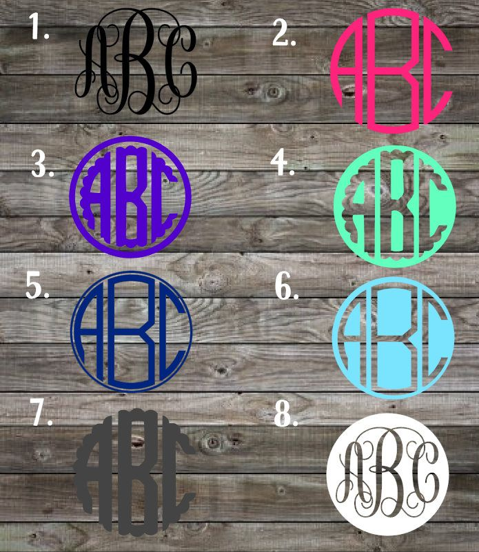Monogram decals custom monogram sticker vinyl decal monogram car decal personalized decal vinyl monogram decals yeti cup decal