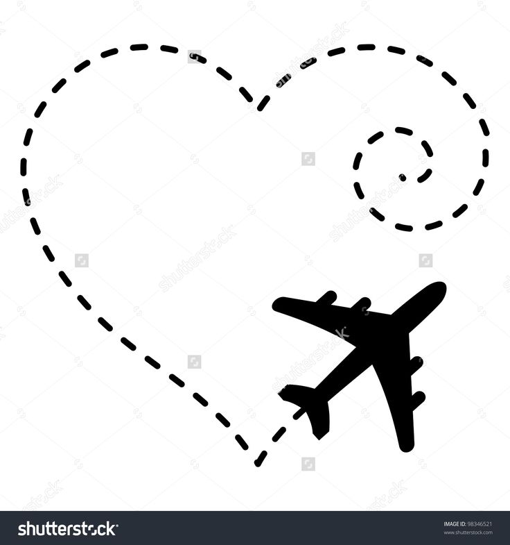 Illustration of Airplane Drawing a Heart Shape in The Sky