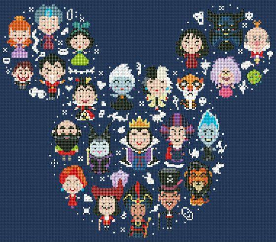 BOGO FREE Disney Mickey Villains Large Cross por ElCrossStitch