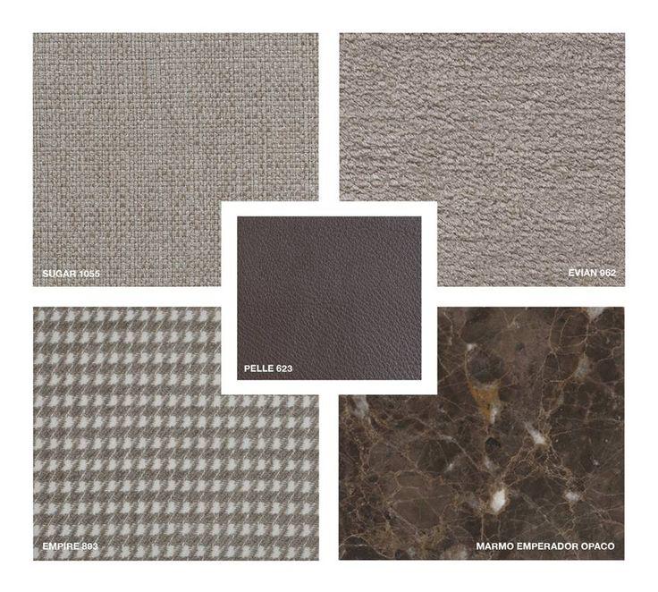Leather: Pelle 623 Marble: Emperador matt Fabrics: Sugar 1055, Evian 862, Empire 893