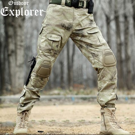 Men Tactical Pants Camouflage Military Cargo Fighting Trousers Combat Tactical Pants Camo Army Uniform Wild Pants Without Pads