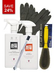 This specially selected kit of products is ideal at cleaning all types of wheel, including alloy, metal or plastic. Save 24% (compared to buying each item individually).  Our Wheel Cleaning Bundle includes:  Alloy Wheel Brush  Autoglym Instant Tyre Dressing  Autoglym Clean Wheels  Tyre gauge  Heavy Duty Valeters Gloves (please specify size)