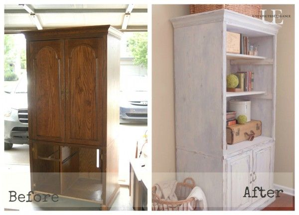 media cabinet makeover: from entertainment center to bookshelves