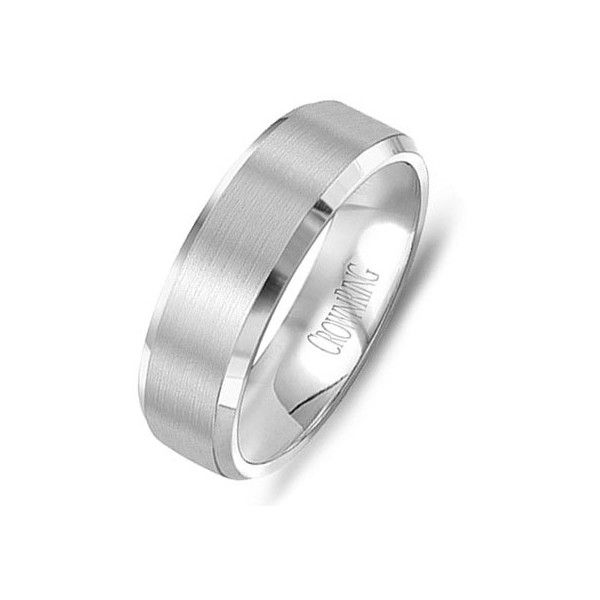 Crown Ring Carlex Collection Platinum 6mm Brushed/Polished Finished... ($2,750) ❤ liked on Polyvore featuring men's fashion, men's jewelry, men's rings, mens wedding rings, mens diamond band wedding ring, mens platinum ring y mens platinum wedding rings