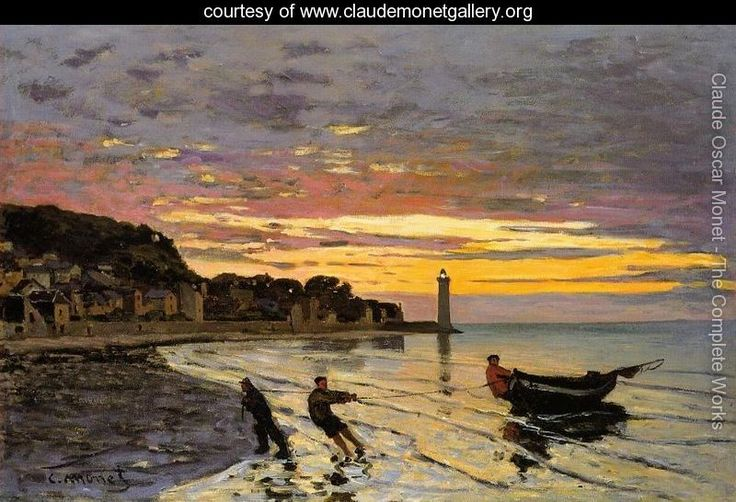 Hauling A Boat Ashore  Honfleur - Claude Oscar Monet - www.claudemonetgallery.org