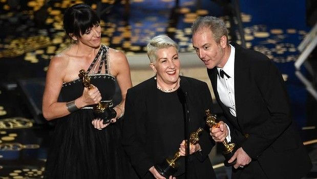 Elka Wardega, Lesley Vanderwalt and Damian Martin accept the Best Makeup and Hairstyling award for <i>Mad Max: Fury Road</i>.