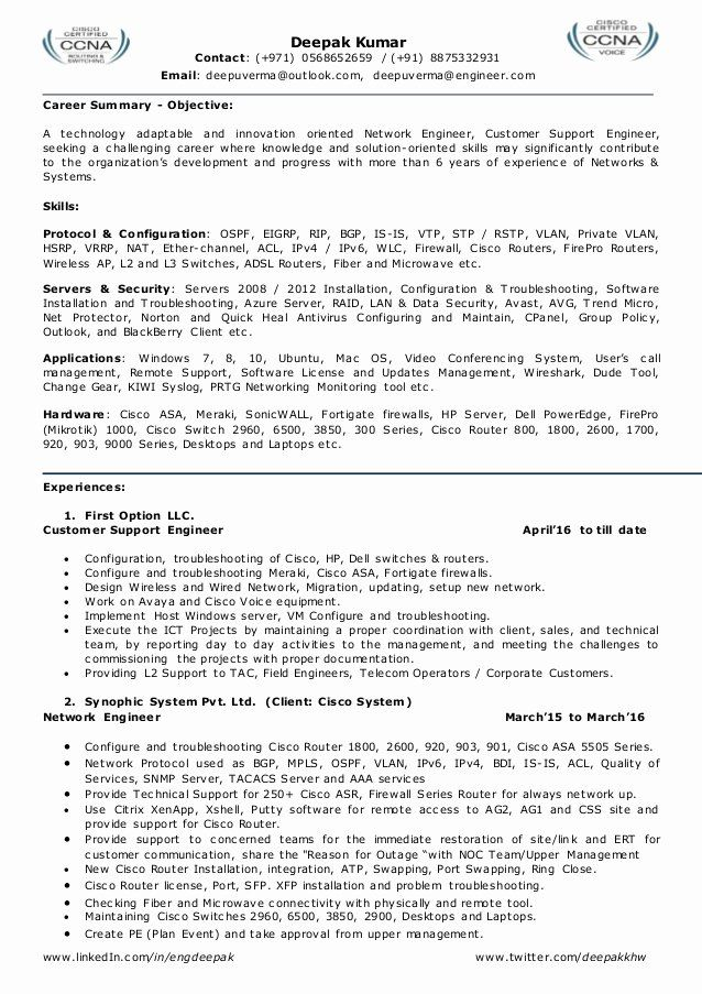 Networking Engineer Resume Sample Best Of Resume For Network Engineer L2 Network Admin Team Leader Network Engineer Resume Sample Resume