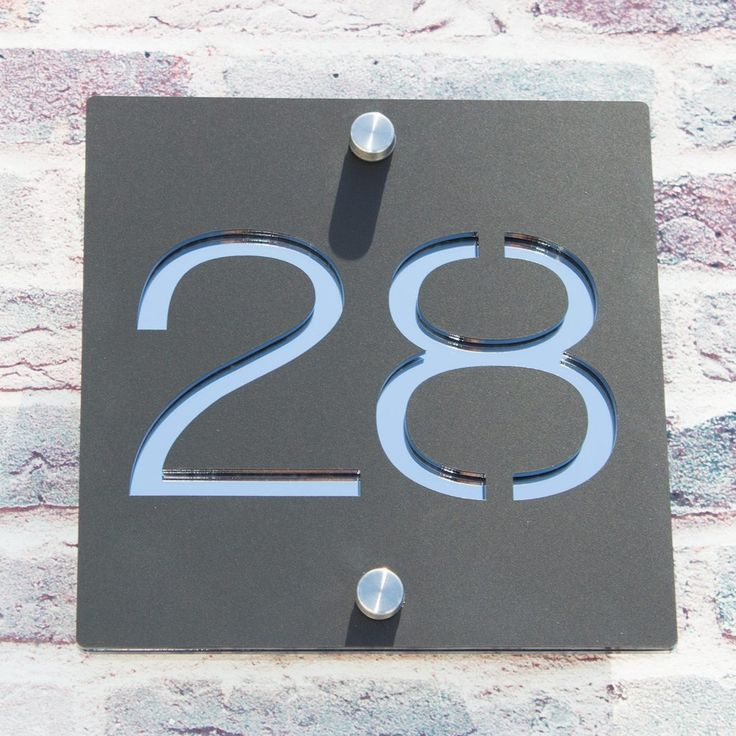 Contemporary Acrylic Square House Number Sign Two
