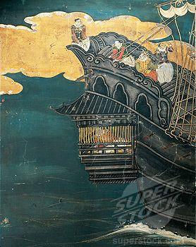 Japan - 16th-17th century - Azuchi-Momoyama Period. Namban Art (1594-1618). Portuguese arrival in Japan. Paper screen, detail