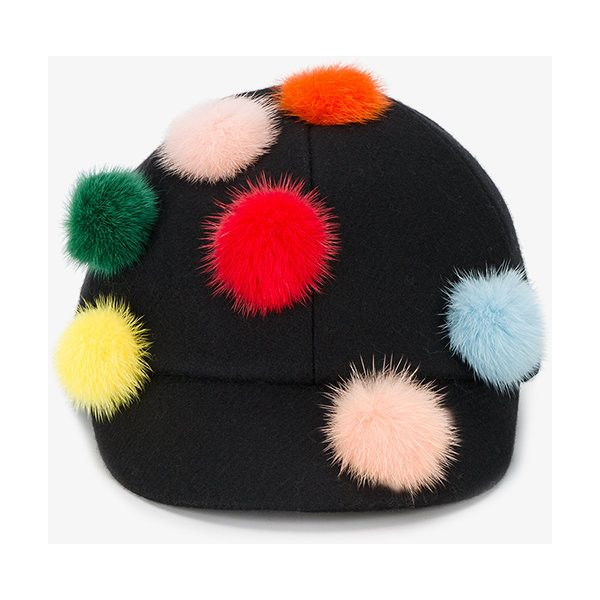 Fendi Pom Pom Riding Hat ($575) ❤ liked on Polyvore featuring accessories, hats, black, colorful hats, pompom hat, pom pom hat, fendi hat and fendi