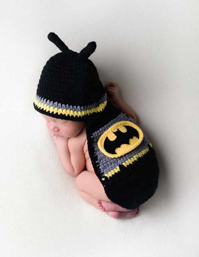 CCC201 Batman Baby Superhero Hat Outfit Knit Newborn Prop