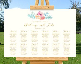 Wedding Seating Chart, Rustic Watercolor floral, Cream, wedding seating plan, find your seat, DIY Printable wedding poster