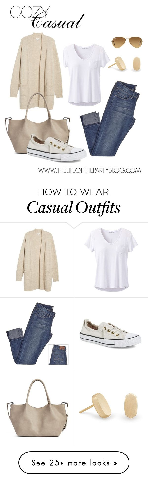 """Cozy Casual"" by thelifeoftheparty on Polyvore featuring prAna, BP., Sole Society, Converse, Kendra Scott and Ray-Ban"