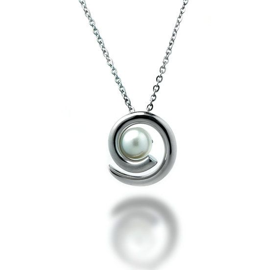 Taormina White Pearl Pendant in Stainless by TaorminaDesigns